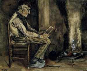 Van Gogh, Farmer sitting at fireside, 1881