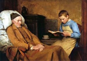 Albert Anker, La devozione al nonno,1893