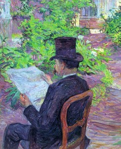 Henri de Toulouse-Lautrec, desire-dehau-reading-a-newspaper-in-the-garden-1890
