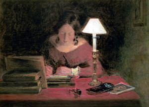 James Abbott McNeill Whistler 'Reading by Lamplight', 1858