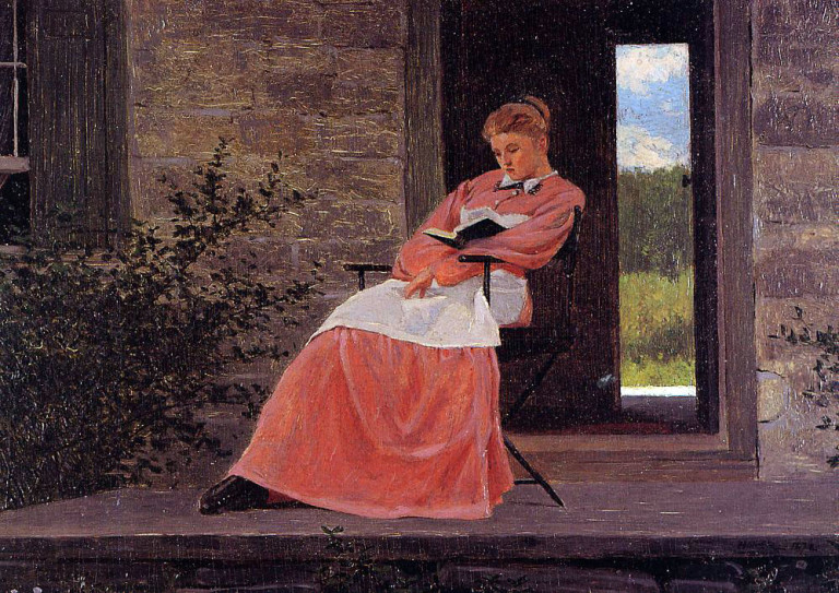 Homer Winslow, Girl Reading on a Stone Porch (1872)Homer Winslow, Girl Reading on a Stone Porch (1872)