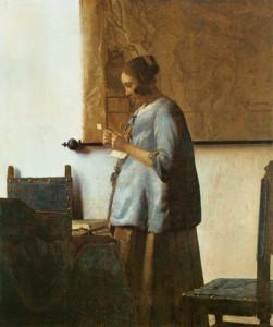 Jan Vermeer, Donna vestita di azzuro che legge una lettera