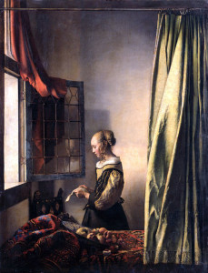 Jan Vermeer, Woman reading a letter at an open window, 1658 ca.