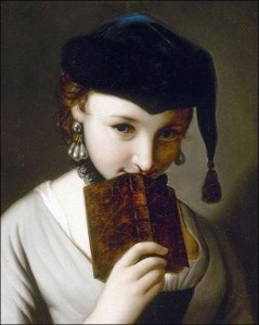 Jean-Etienn Liotard, Giovane donna con libro, 1756