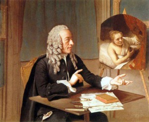 Jean-Etienn Liotard, Portrait of Francois Tronchin with his Rembrandt painting