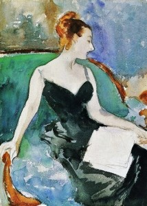 A figure study by Sargent in watercolor and graphite, c. 1883