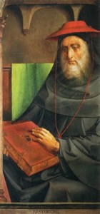 Bessarione nella serie degli uomini illustri dello Studiolo di Federico da Montefeltro. Il quadro è ospitato presso il Museo del Louvre.