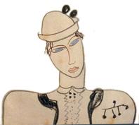 Dibujo de Lorca dedicado a Margarita Xirgu, intérprete de la primera Mariana Pineda, estrenada en Barcelona en 1927.