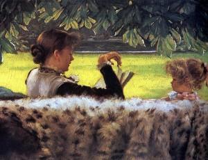 Jacques-Joseph Tissot, Reading a story, 1878