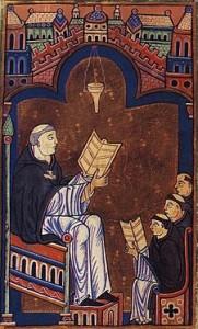 Ugo di San Vittore in una miniatura medievale