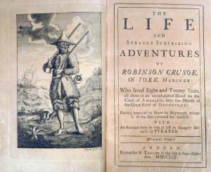 """Stampa originale del 1719 del libro """"Robinson Crusoe"""", di Daniel Defoe"""