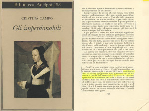Cristina Campo, Gli imperdonabili