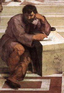 Eraclito, ritratto da Raffaello ne La scuola di Atene, con le fattezze di Michelangelo Buonarroti