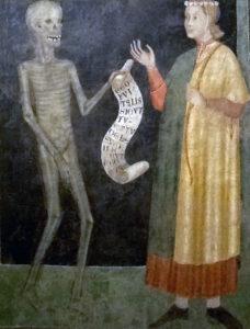 Il giovane e la morte, 1318, affresco, Pinacoteca Civica Palazzo Volpi di Como