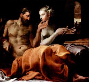 Penelope ed Ulisse nel talamo nuziale, 1563 ca, dipinto di Francesco Primaticcio