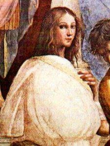 Particolare del dipinto di Raffaello Sanzio - La scuola di Atene