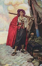 Un pirata del XVIII secolo rappresentato in un dipinto di Howard Pyle (1905)