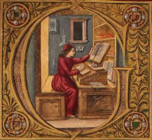 Miniatura-di-scuola-fiorentina-della-lettera-G-maiuscola-attribuita-a-Attavante-Attavanti-circa-1480