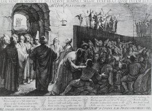 Illustrazione del mito platonico della caverna in un'incisione del 1604 di Jan