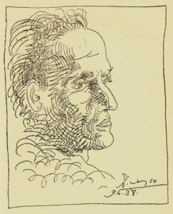 César Vallejo, in un disegno di Pablo Picasso
