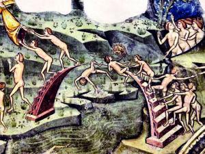 Il «Ponte del capello», particolare dell'affresco nella Chiesa di Santa Maria in Piano a Loreto Aprutino
