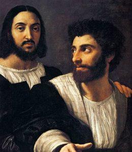 Raffaello Sanzio, Autoritratto con un amico, 1518-1520