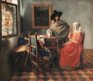 Jan Vermeer (1632 – 1675), Il bicchiere di vino, 1659 – 1660 circa, olio su tela (Gemäldegalerie, Berlino)