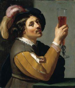 Jan van Bijlert (1598-1671), Giovane che beve un bicchiere di vino, 1635-1640 olio su tela, Collezione privata