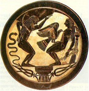Prometeo legato alla colonna con Atlante che regge il cielo, VI a.C. colore
