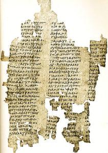 Un papiro del III secolo a.C. che riporta un frammento dello scritto Sulla verità