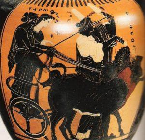 Cadmo e Armonia sul carro, vaso attico, V se. a.C.