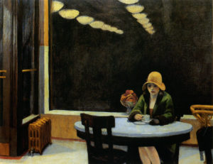 Edward Hopper, Automat, olio su tela, 1927. Des Moines Art Center