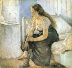 Edward Munch, Il mattino. Ragazza sul bordo del letto.