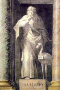 Paris Nogari, Allegoria del silenzio. 1582, affresco, Città del Vaticano, sala degliSvizzeri.