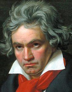 Particolare del viso del ritratto di Beethoven mentre compone la Missa Solemnis, eseguito da Joseph Karl Stieler, 1820