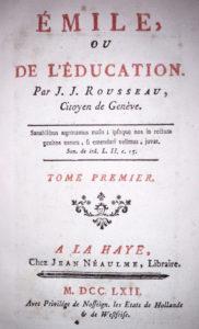 Frontespizio della prima edizione dell'Émile ou de l'éducation (1762) copia