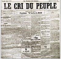 La une du tout premier numéro, lors de sa reparution en 1883 (Dimanche 28 octobre).