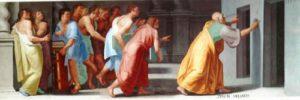 Zenone di Elea indica le porte della verità e della falsità- affrescp all'Escorial di Madrid