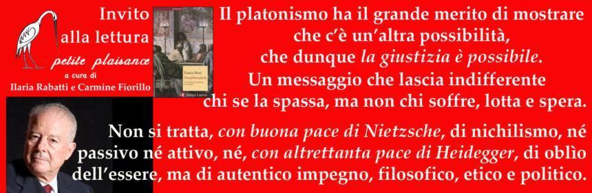 Enrico Berti, Platone